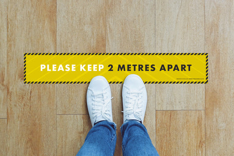 Small Strips Floor Stickers - Please Keep 2m Apart
