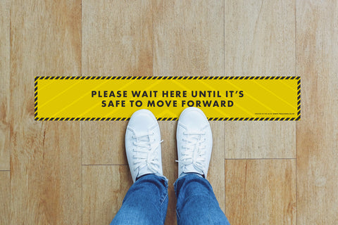 Small Strips Floor Stickers - Please Wait Here Until Its Safe To Move Forward