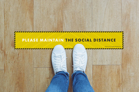 Small Strips Floor Stickers - Please Maintain the Social Distance