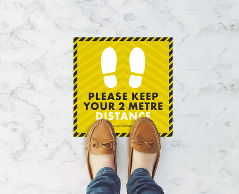 Square Floor Stickers - Please Keep Your 2m Distance