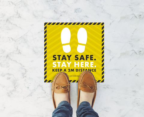 Square Floor Stickers - Stay Safe Stay Here