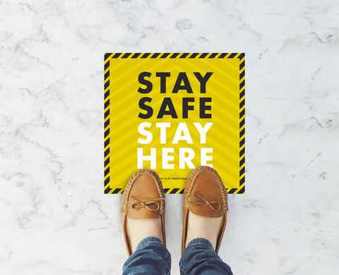 Square Floor Stickers - Stay Safe Stay Here 2