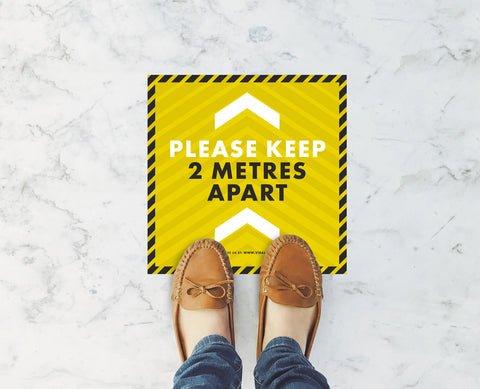 Square Floor Stickers - Please Keep 2m Apart