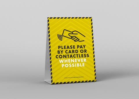 Tent Cards - Please Pay By Contactless
