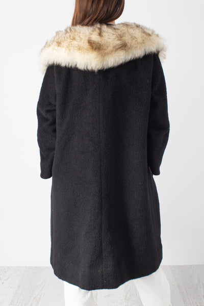 Wool & Mohair Black Coat with Faux Fur Trim - Free Size