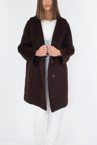 50s/60s Dark Chocolate Brown Wool Mohair Cocoon Coat - Size M