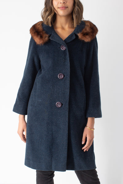 1950s/1960s Green Wool Coat with Fur Trim - Size S/M