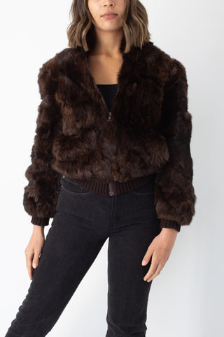 70s Dark Brown Fur Bomber Jacket - Size M