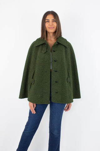 50s Green Mohair Wool Cape - Free Size