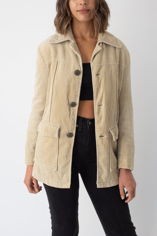 70s Beige Cord Jacket with Fleece Lining - Size XS/S/M