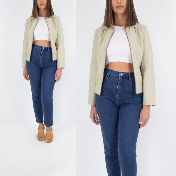 60s/70s Style Beige Leather Jacket - Size S