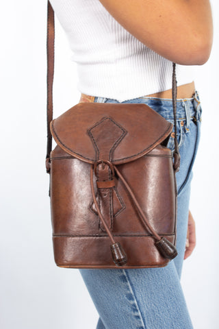 70s Brown Leather Bucket Bag