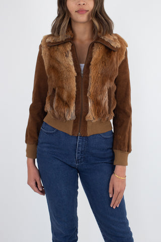 70s Brown Fur & Suede Leather Bomber Jacket - Size XS