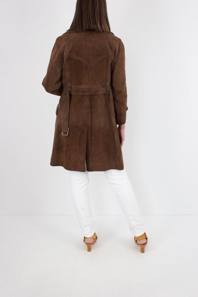 70s Chocolate Brown Suede Leather Trench Coat - Size S / M
