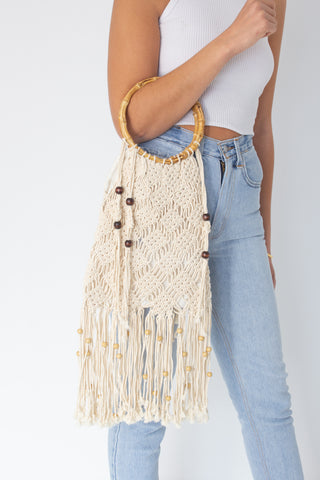 70s Cream Macrame Bag with Wooden Handles