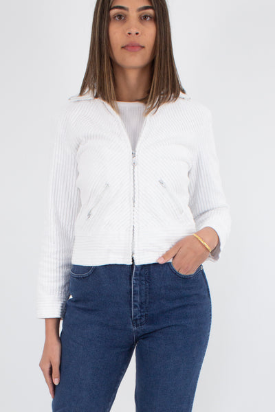 70s Style Cropped White Cord Jacket - Size XS
