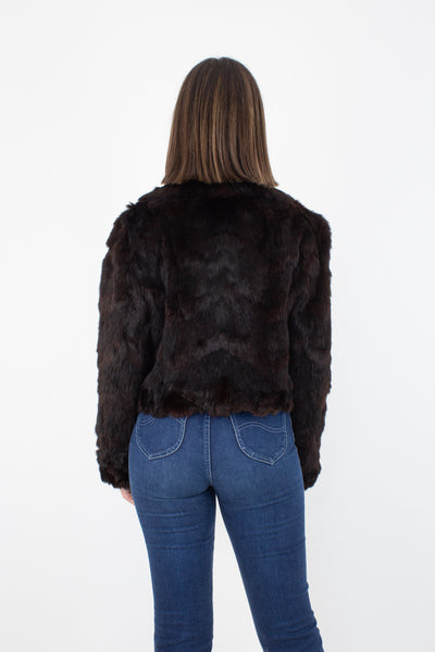 70s Dark Brown Cropped Fur Bomber Jacket - Size M