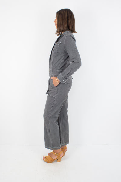 70s Grey Blue Striped Boiler Suit - Size S