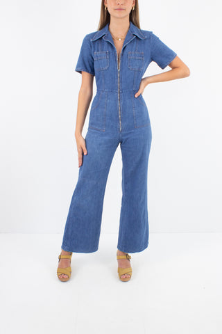 1970s Indigo Blue Denim Jumpsuit - Size XXS/XS