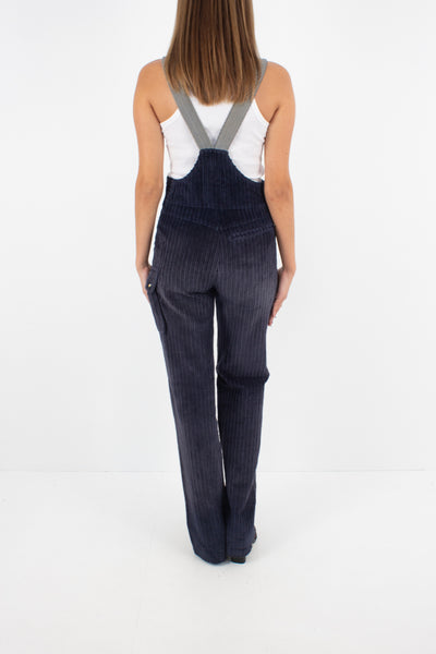 70s Navy Blue Stretch Cord Suspender Overalls - Size XS/S
