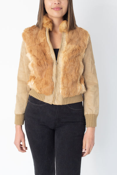 70s Tan Suede & Fur Bomber Jacket - Size XS/S