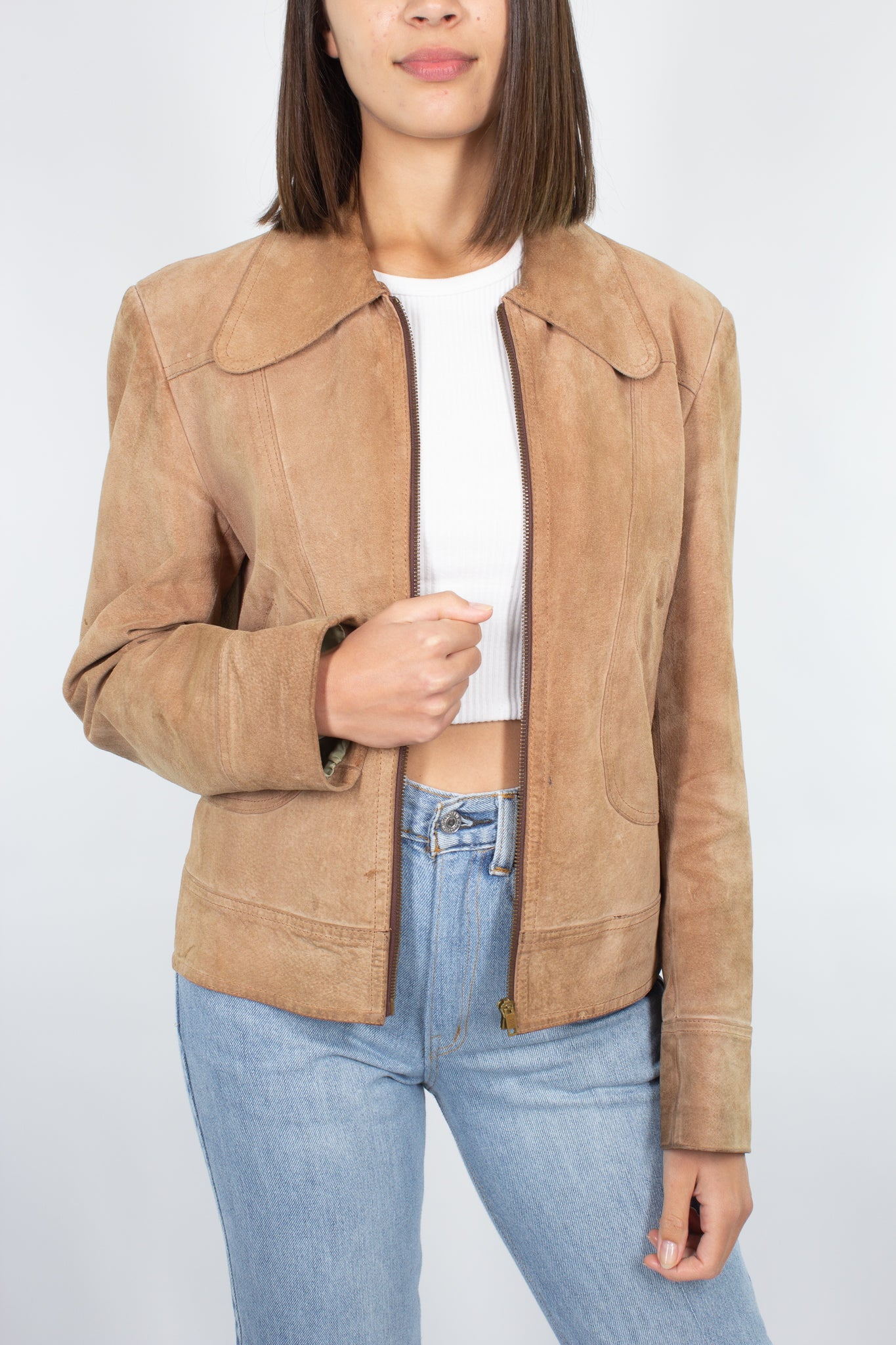 70s Tan Suede Leather Jacket - Size M/L