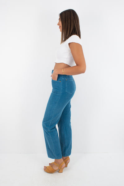 "70s Teal Cord High Waist Jeans - Size 28"" / S/M"