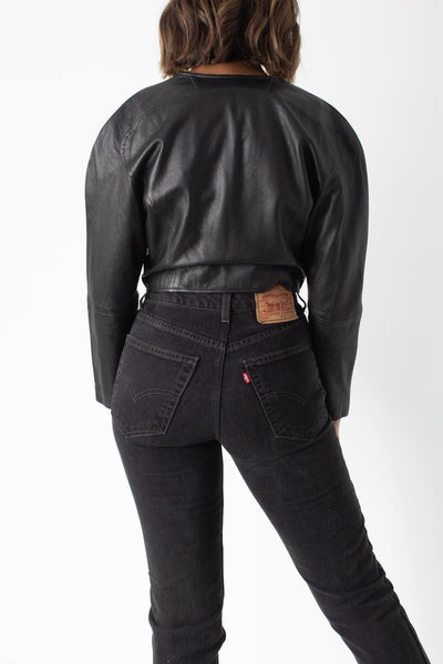 80s Black Leather Cropped Jacket - Size XS/S/M
