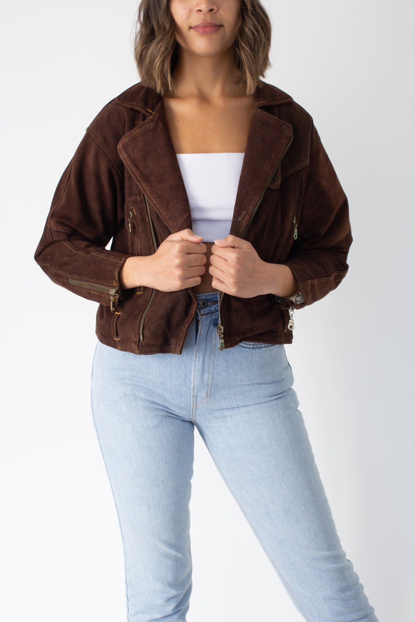 80s Brown Suede Motorcycle Jacket - Size XS/S/M