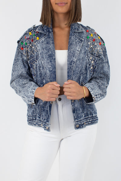 80s Studded & Bedazzled Stonewash Denim Jacket - Free Size