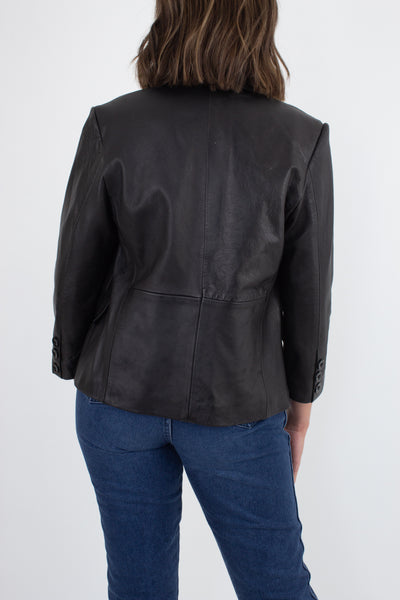 90s / Y2K Black Minimalist Leather Jacket - Size XS/S