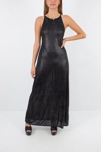 90s Slinky Metallic Maxi Dress - Size S/M