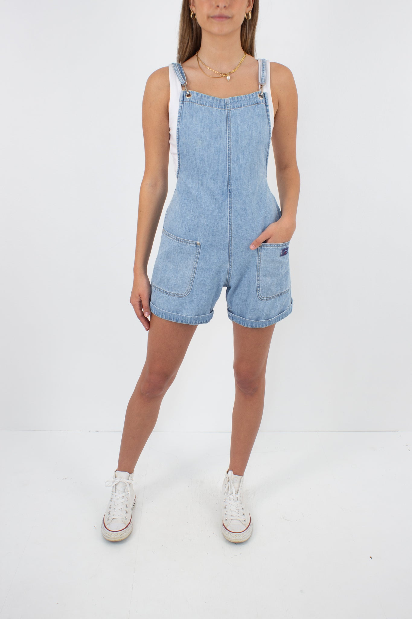 Backless Light Blue Denim Overalls Playsuit - Size S