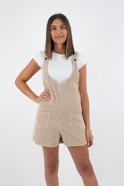 Beige Cord Playsuit Overalls - Size S/M