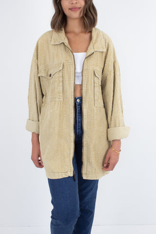 Beige Cord Zip Up Jacket - Ocean Pacific - Free Size