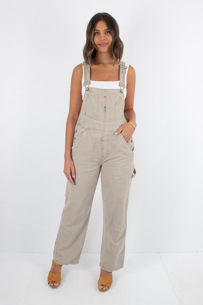 Light Brown Long Denim Overalls - Size S/M
