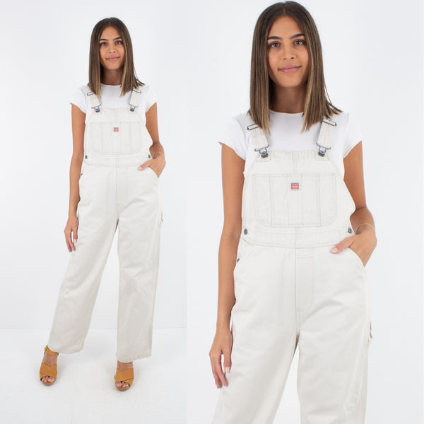 Beige Long Denim Overalls - Size S