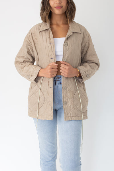 Beige Quilted Silk Jacket - Size XS/S/M