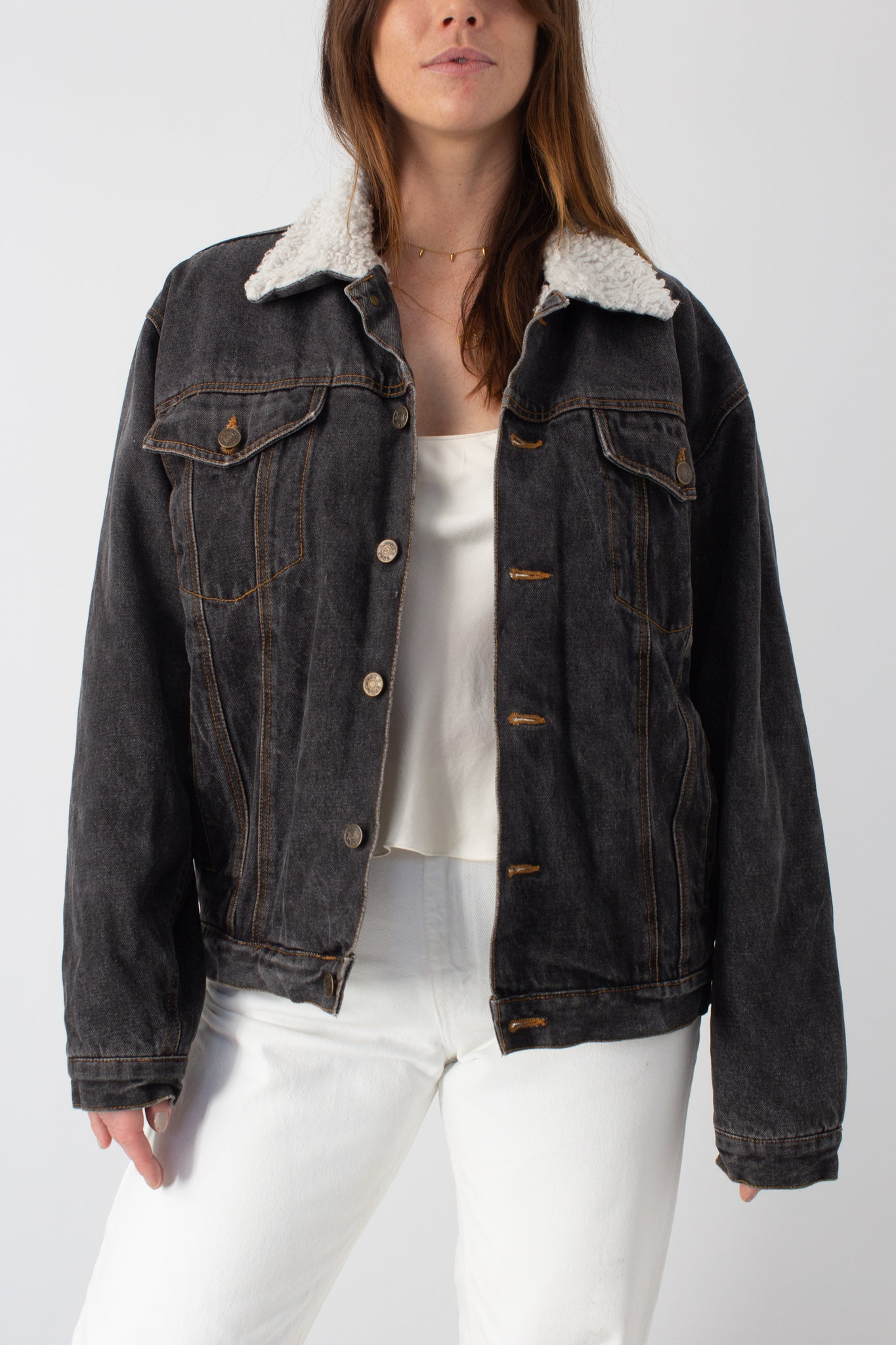 Black Denim Sherpa Jacket - Free Size