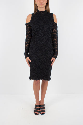 80s Black Lace Dress with Exposed Shoulders - Size M