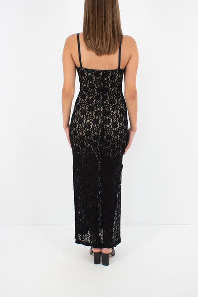90s Black Lace Maxi Dress with Side Splits - Size XS/S