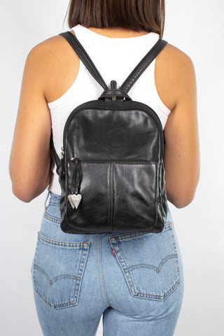 Black Leather Backpack with Silver Hearts