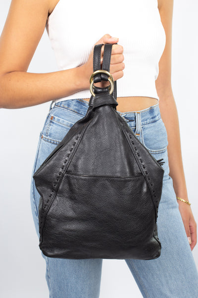 Black Leather Backpack with Tassels