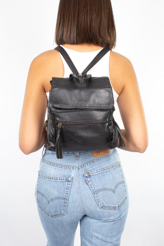 Black Leather Backpack with Tassles - Small