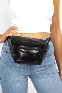 Black Leather Bumbag