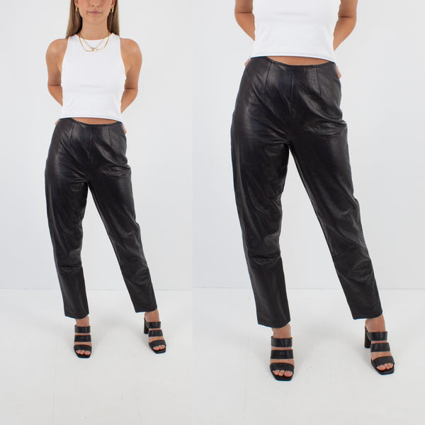 Black Leather High Waist Pants - Size XS / 24""