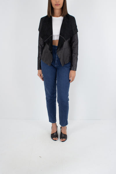 Black Leather Jacket with Wide Suede Lapels - Size S