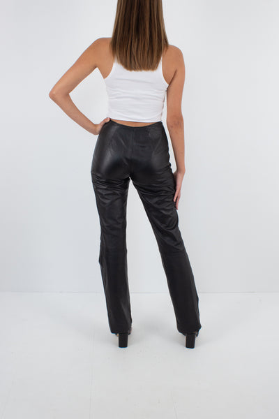 Y2K Black Leather Mid Rise Pants - Straight Leg - Size XS/S