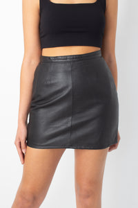 Black Leather Mini Skirt - Size S / 26""