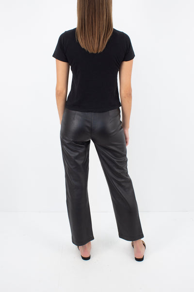 Y2K Mid Rise Black Leather Pants - Size XS